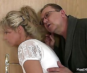 She rides his old cock..