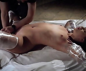 Rough bondage slapping..
